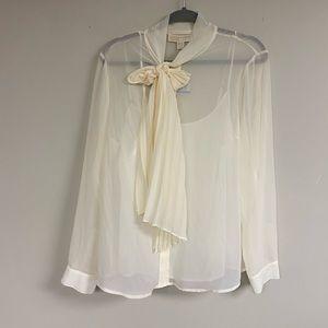 Michael Michael Kors Sheer Shirt Cream Top